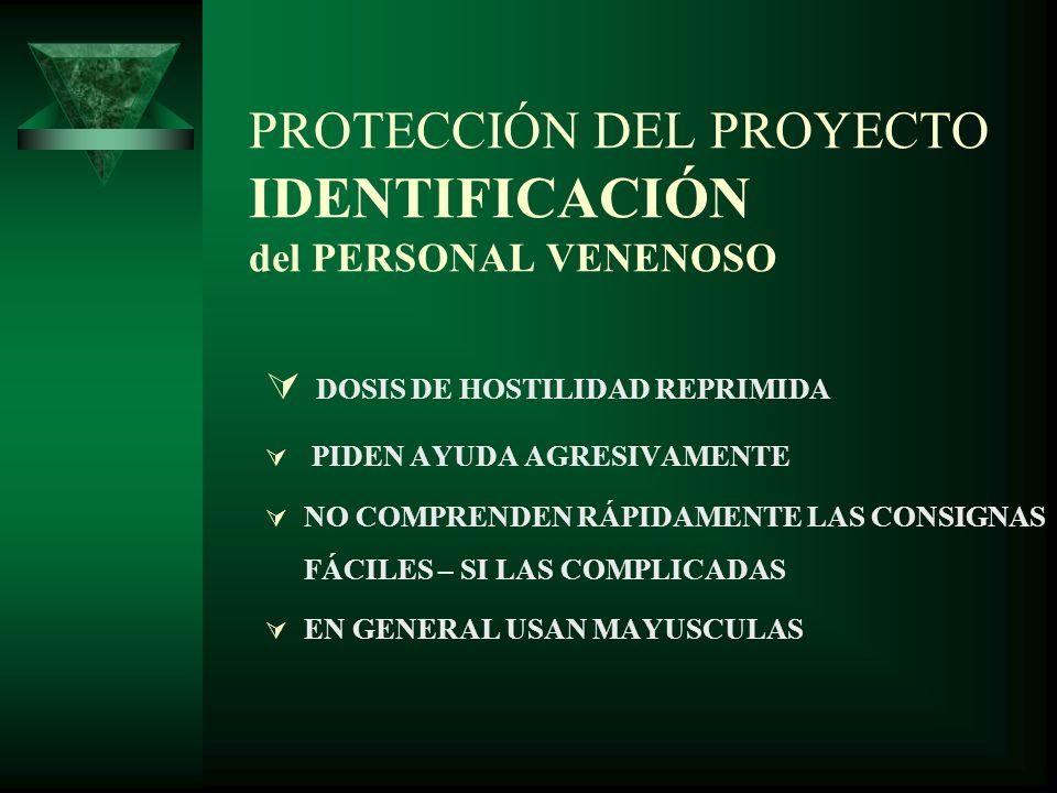 PROTECCIÓN DEL PROYECTO COMPRENSIÓN CARACTERÍSTICAS DE LA PERSONALIDAD DEL PERSONAL VENENOSO DETALLISTAS OBSESIVOS CON LOS PROCESOS PERFECCIONISTAS NO LO HACEN INTENCIONADAMENTE INTERVIENEN EN DISCUSIONES SIN UN FINAL USUALMENTE SIGUEN LA LEY SIG: LA DURACION DE LA DISCUSION ES INVERSAMENTE PROPORCIONAL A SU IMPORTANCIA