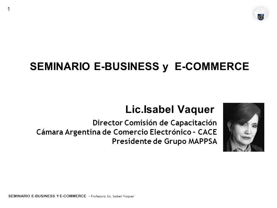 SEMINARIO E-BUSINESS Y E-COMMERCE - Profesora Lic. Isabel Vaquer Buenos Aires, Argentina Fundaciòn CANE-INNOVA-IADB SEMINARIO E-BUSINESS y E-COMMERCE