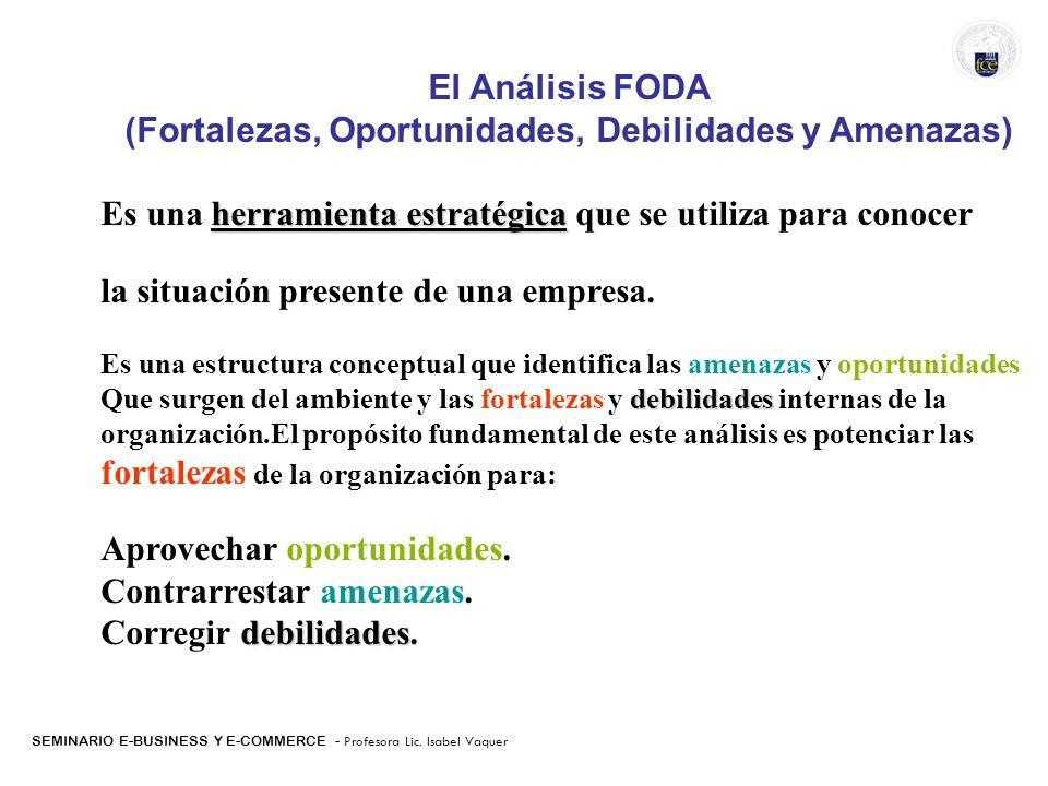 El Análisis FODA (Fortalezas, Oportunidades, Debilidades y Amenazas) herramienta estratégica Es una herramienta estratégica que se utiliza para conoce