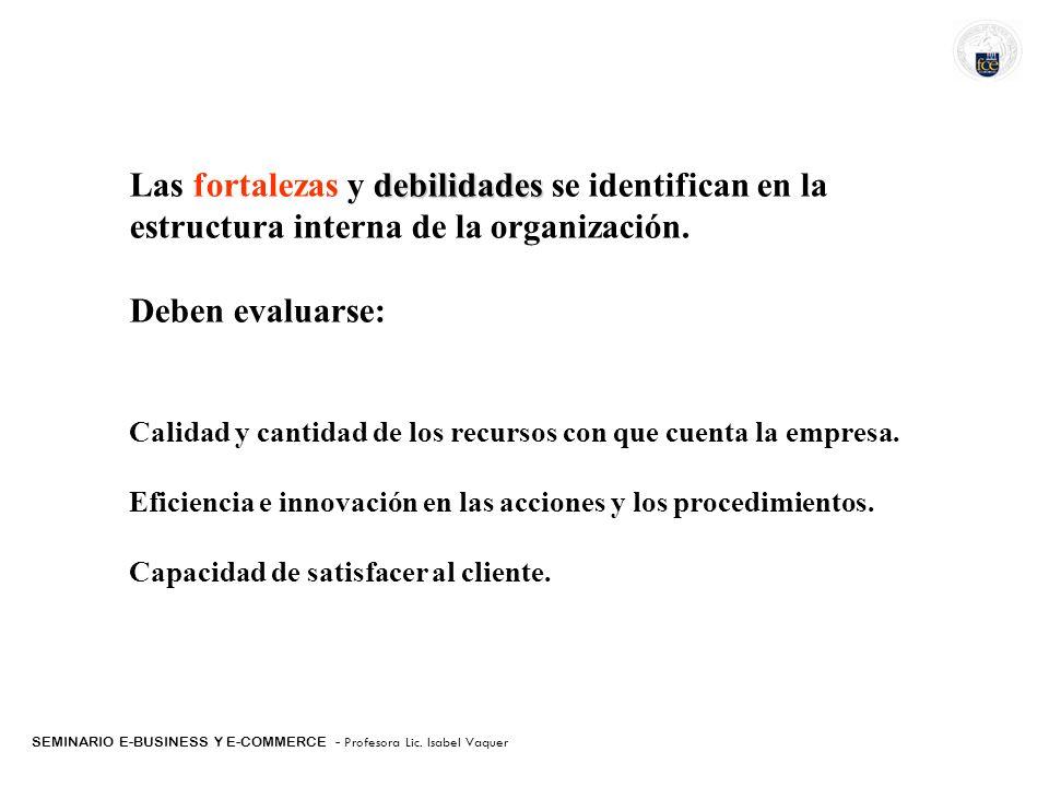 SEMINARIO E-BUSINESS Y E-COMMERCE - Profesora Lic. Isabel Vaquer debilidades Las fortalezas y debilidades se identifican en la estructura interna de l