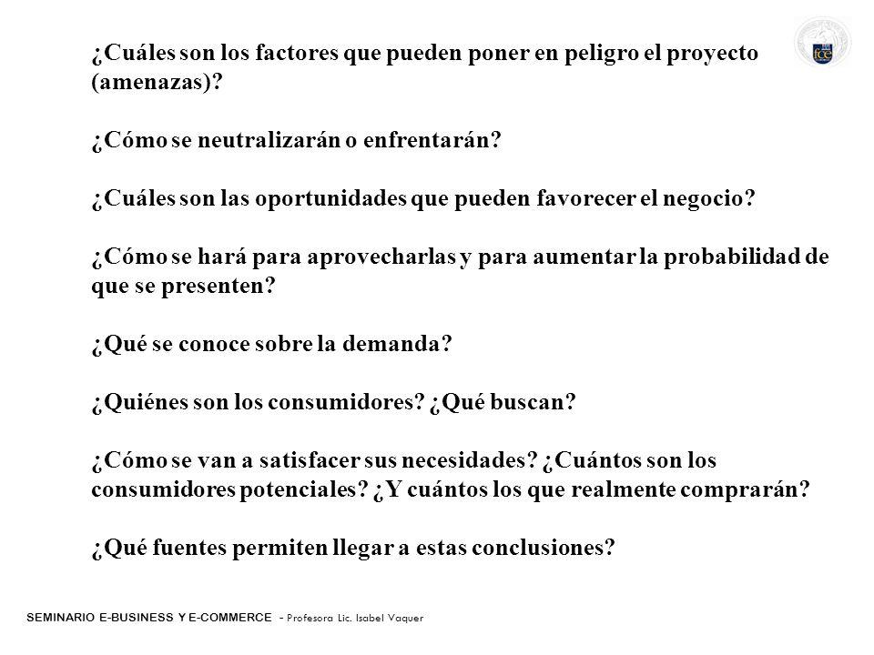 SEMINARIO E-BUSINESS Y E-COMMERCE - Profesora Lic. Isabel Vaquer ¿Cuáles son los factores que pueden poner en peligro el proyecto (amenazas)? ¿Cómo se