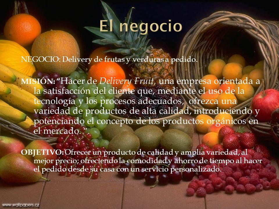 NEGOCIO: Delivery de frutas y verduras a pedido.