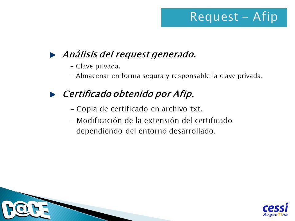 Análisis del request generado. - Clave privada. - Almacenar en forma segura y responsable la clave privada. Certificado obtenido por Afip. - Copia de