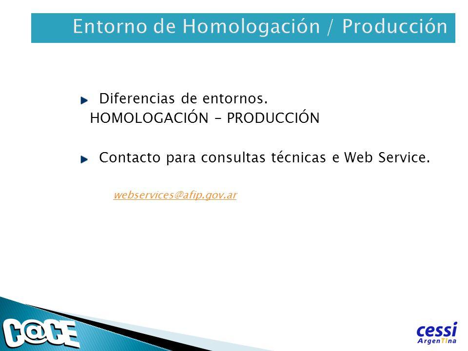 Diferencias de entornos. HOMOLOGACIÓN - PRODUCCIÓN Contacto para consultas técnicas e Web Service. webservices@afip.gov.ar