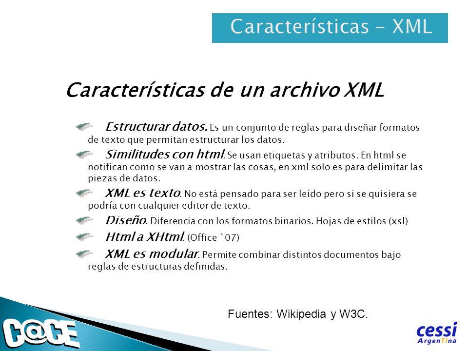 Características de un archivo XML Estructurar datos. Es un conjunto de reglas para diseñar formatos de texto que permitan estructurar los datos. Simil