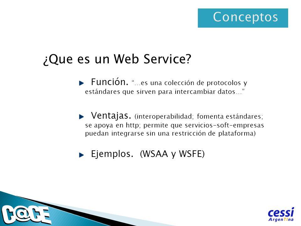 ¿Que es un Web Service? Función. …es una colección de protocolos y estándares que sirven para intercambiar datos… Ventajas. (interoperabilidad; foment
