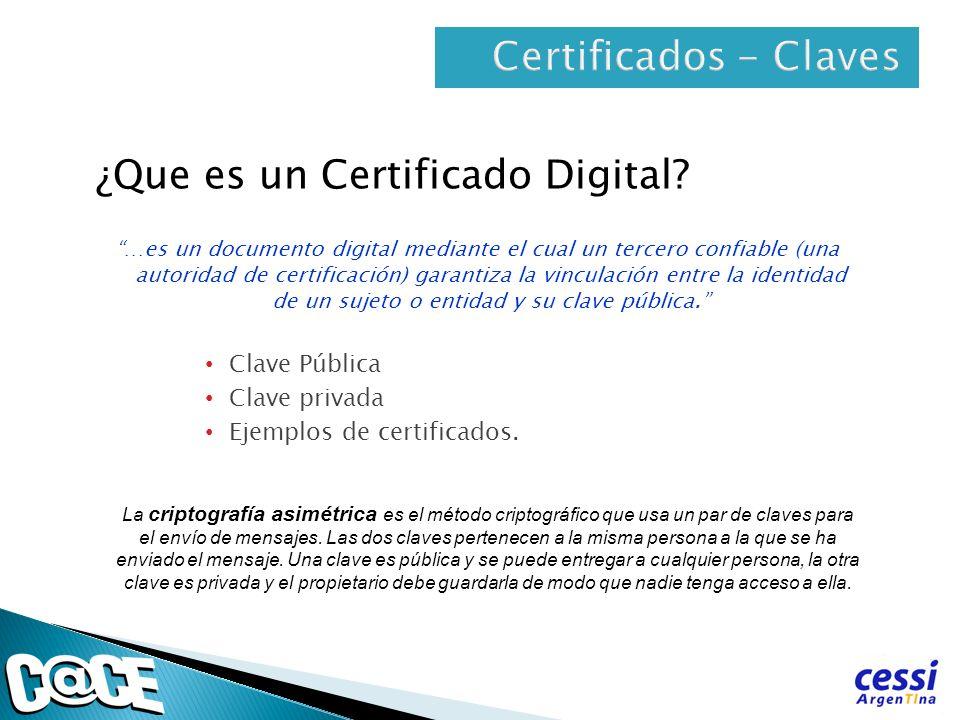 ¿Que es un Certificado Digital? …es un documento digital mediante el cual un tercero confiable (una autoridad de certificación) garantiza la vinculaci