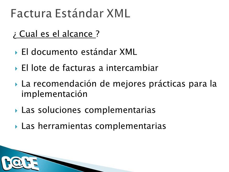 El documento estándar XML El lote de facturas a intercambiar La recomendación de mejores prácticas para la implementación Las soluciones complementari