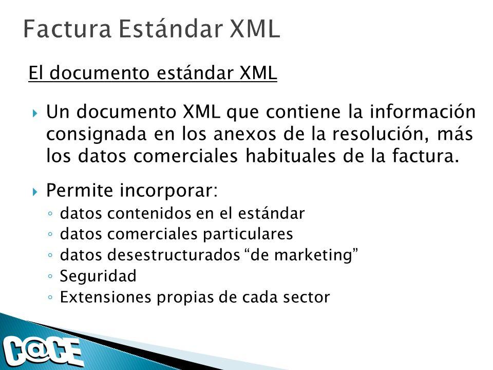 Un documento XML que contiene la información consignada en los anexos de la resolución, más los datos comerciales habituales de la factura. Permite in