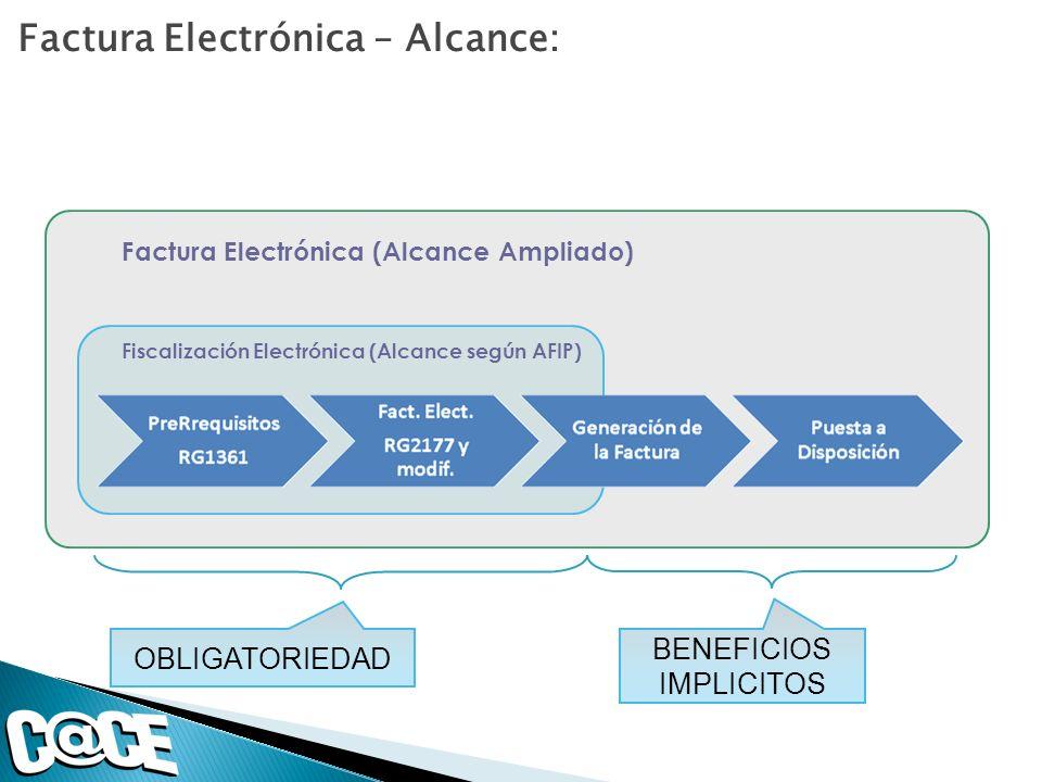 Factura Electrónica (Alcance Ampliado) Fiscalización Electrónica (Alcance según AFIP) Factura Electrónica – Alcance: OBLIGATORIEDAD BENEFICIOS IMPLICI