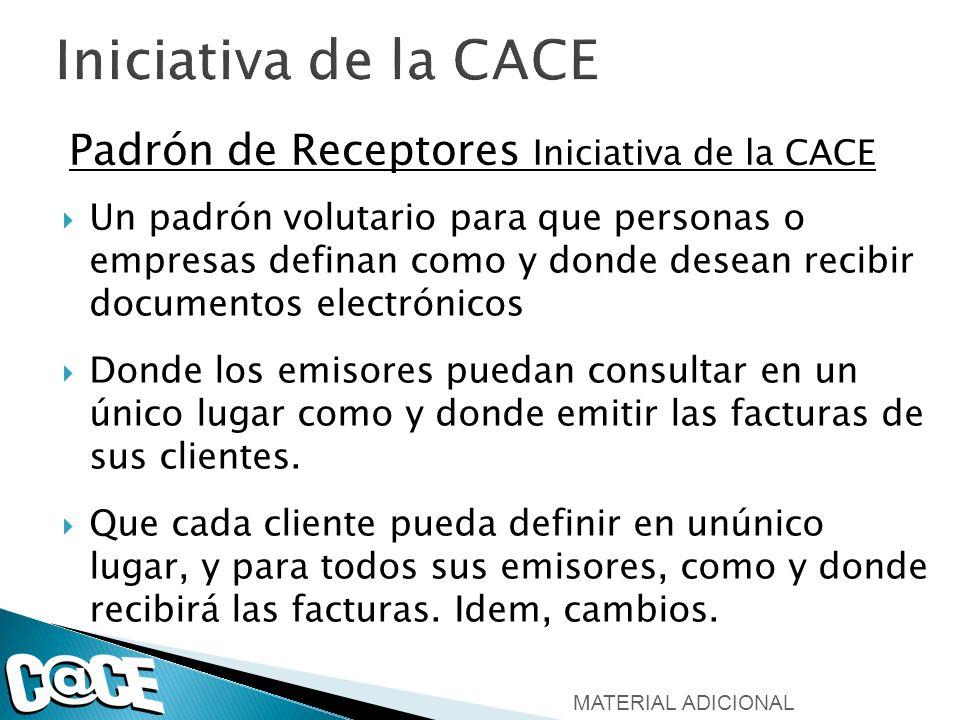 Padrón de Receptores Iniciativa de la CACE Un padrón volutario para que personas o empresas definan como y donde desean recibir documentos electrónico