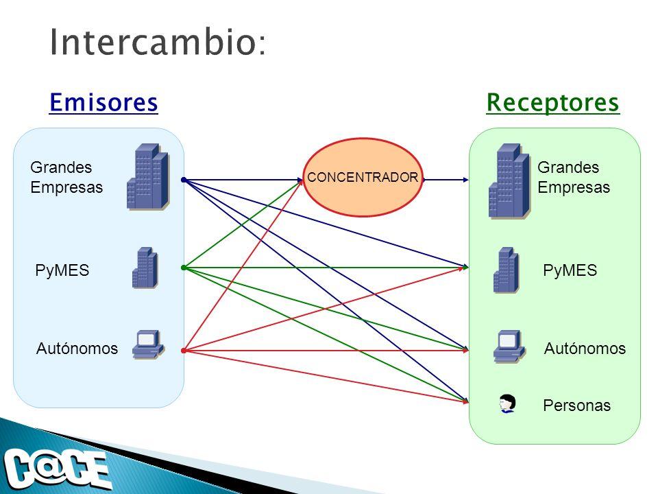 Emisores Grandes Empresas PyMES Autónomos Receptores Grandes Empresas PyMES Autónomos Personas CONCENTRADOR