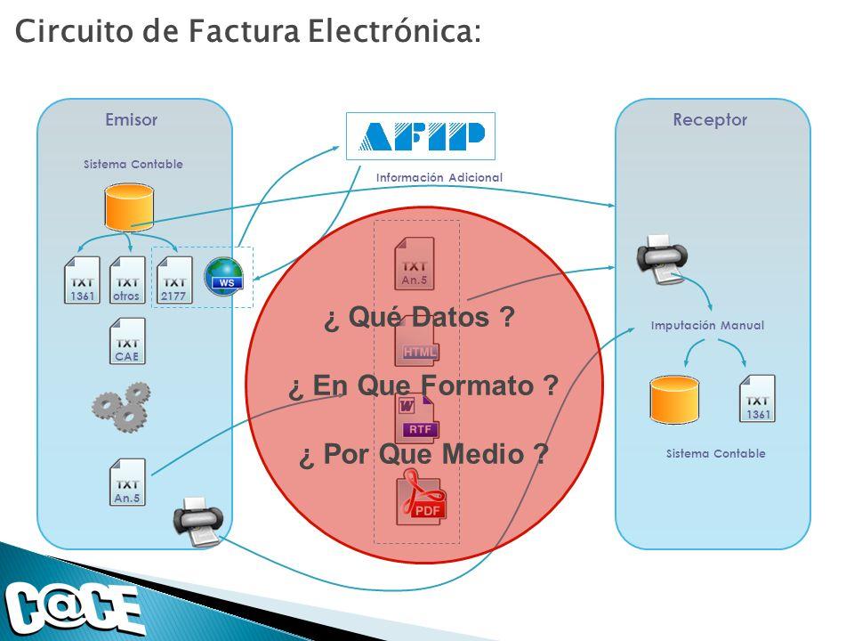Circuito de Factura Electrónica: CAE Emisor An.5 Receptor An.5 1361 Sistema Contable Imputación Manual Sistema Contable 1361otros2177 Información Adic