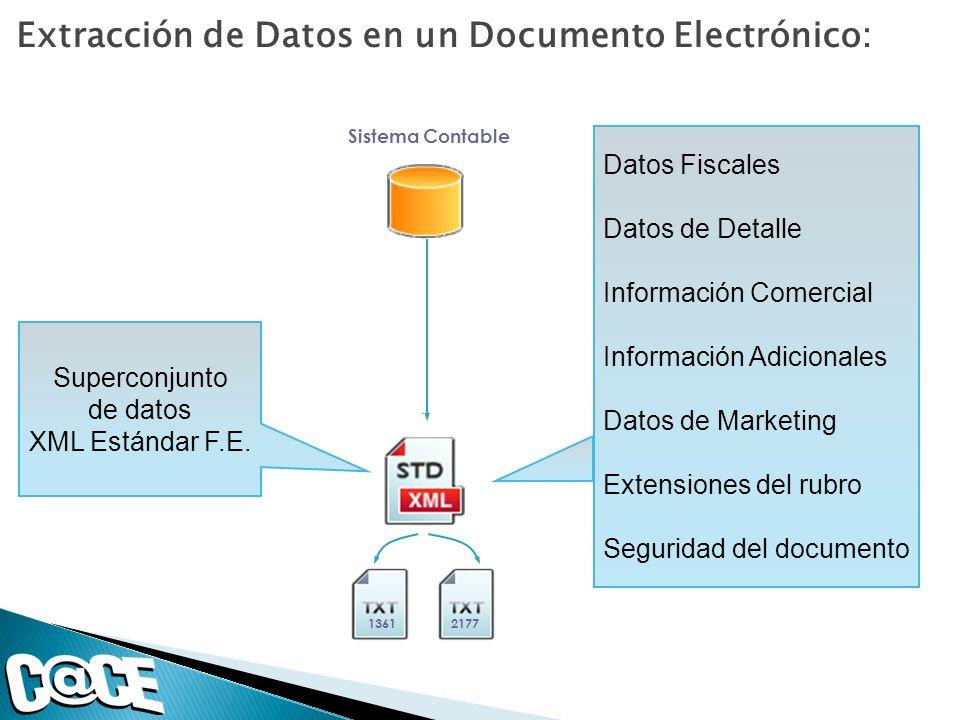 Superconjunto de datos XML Estándar F.E. Extracción de Datos en un Documento Electrónico: Sistema Contable 1361Otros.2177 Datos Fiscales Datos de Deta