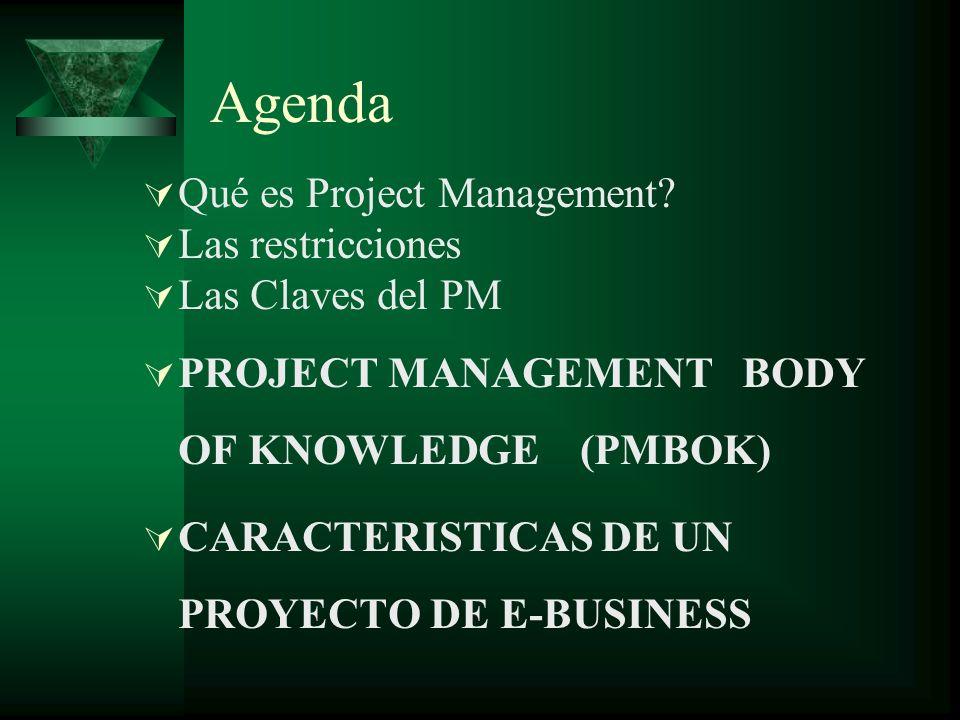 Agenda Qué es Project Management? Las restricciones Las Claves del PM PROJECT MANAGEMENT BODY OF KNOWLEDGE (PMBOK) CARACTERISTICAS DE UN PROYECTO DE E