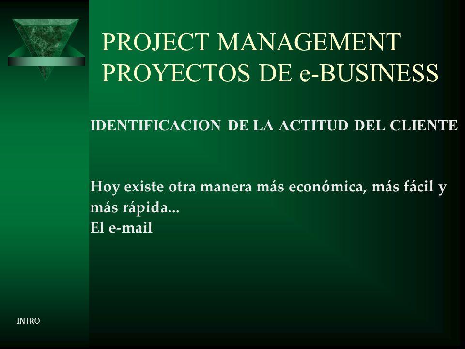 PROJECT MANAGEMENT PROYECTOS DE e-BUSINESS IDENTIFICACION DE LA ACTITUD DEL CLIENTE Hoy existe otra manera más económica, más fácil y más rápida...