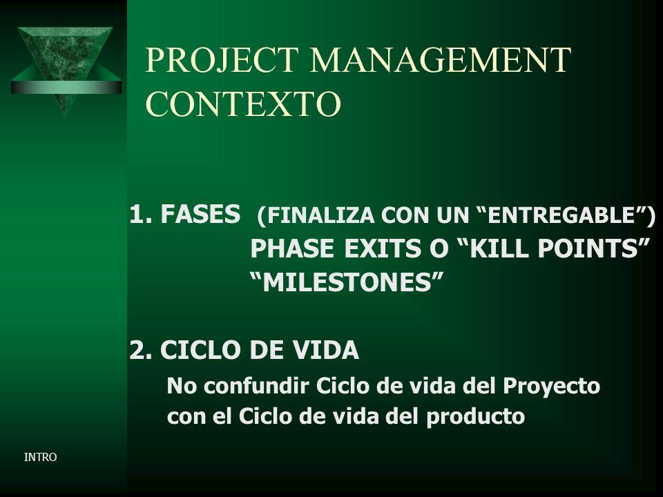 PROJECT MANAGEMENT CONTEXTO 1. FASES (FINALIZA CON UN ENTREGABLE) PHASE EXITS O KILL POINTS MILESTONES 2. CICLO DE VIDA No confundir Ciclo de vida del