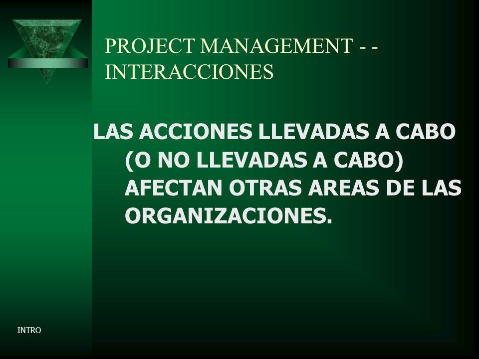 PROJECT MANAGEMENT - - INTERACCIONES LAS ACCIONES LLEVADAS A CABO (O NO LLEVADAS A CABO) AFECTAN OTRAS AREAS DE LAS ORGANIZACIONES.
