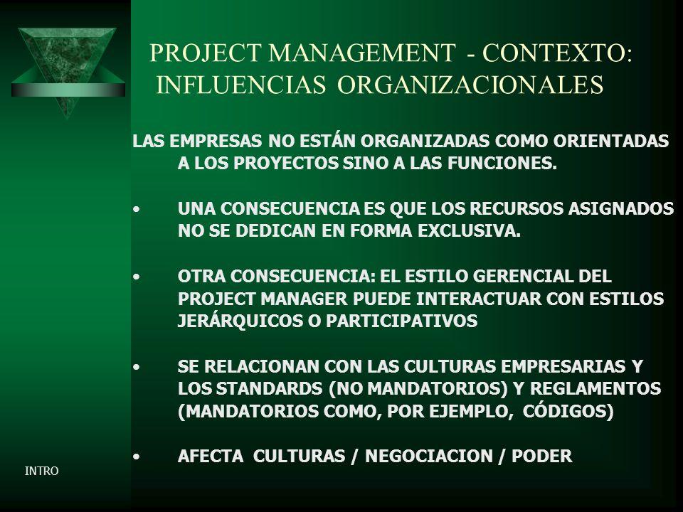 PROJECT MANAGEMENT - CONTEXTO: INFLUENCIAS ORGANIZACIONALES LAS EMPRESAS NO ESTÁN ORGANIZADAS COMO ORIENTADAS A LOS PROYECTOS SINO A LAS FUNCIONES.
