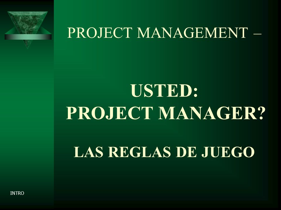 PROJECT MANAGEMENT – USTED: PROJECT MANAGER? LAS REGLAS DE JUEGO INTRO