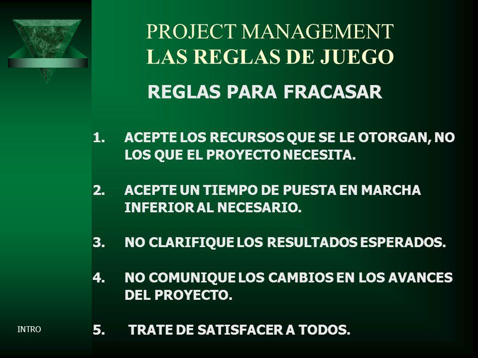 PROJECT MANAGEMENT LAS REGLAS DE JUEGO REGLAS PARA FRACASAR 1.ACEPTE LOS RECURSOS QUE SE LE OTORGAN, NO LOS QUE EL PROYECTO NECESITA.