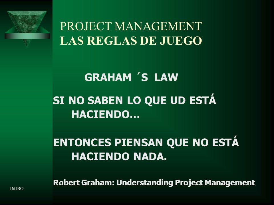 PROJECT MANAGEMENT LAS REGLAS DE JUEGO GRAHAM ´S LAW SI NO SABEN LO QUE UD ESTÁ HACIENDO… ENTONCES PIENSAN QUE NO ESTÁ HACIENDO NADA.