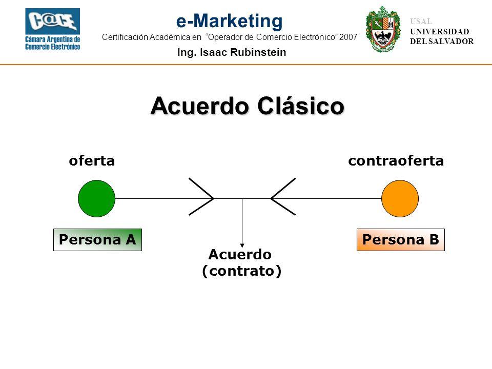 Ing. Isaac Rubinstein USAL UNIVERSIDAD DEL SALVADOR e-Marketing Certificación Académica en Operador de Comercio Electrónico 2007 Acuerdo Clásico Perso