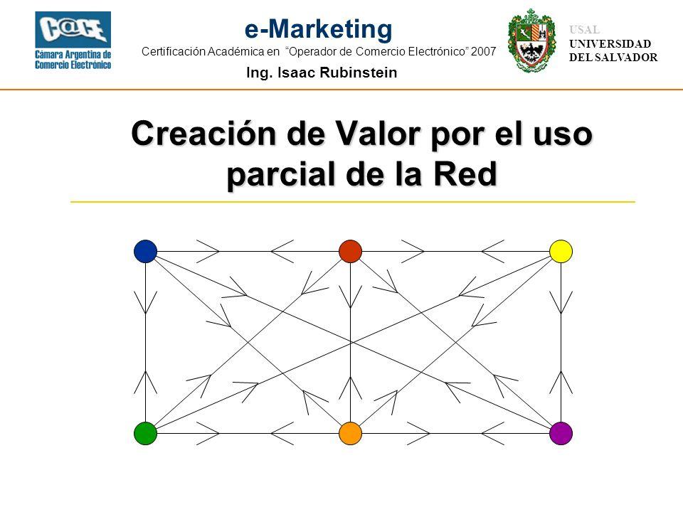 Ing. Isaac Rubinstein USAL UNIVERSIDAD DEL SALVADOR e-Marketing Certificación Académica en Operador de Comercio Electrónico 2007 Creación de Valor por