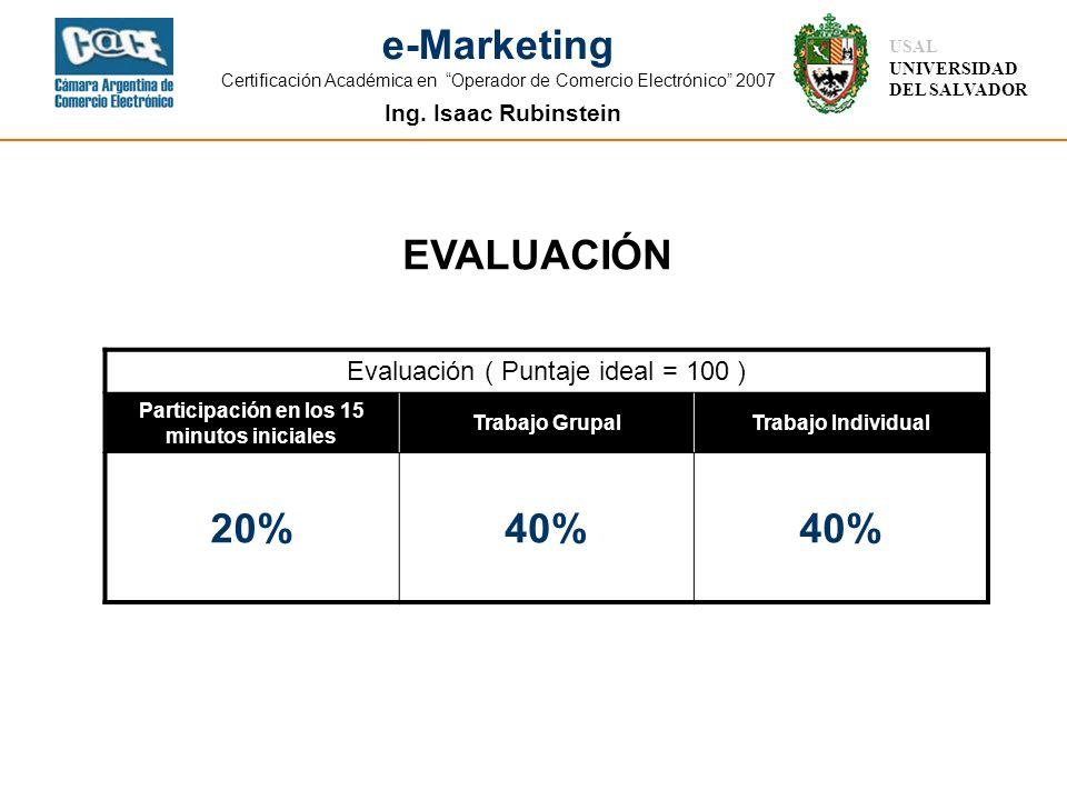 Ing. Isaac Rubinstein USAL UNIVERSIDAD DEL SALVADOR e-Marketing Certificación Académica en Operador de Comercio Electrónico 2007 Evaluación ( Puntaje