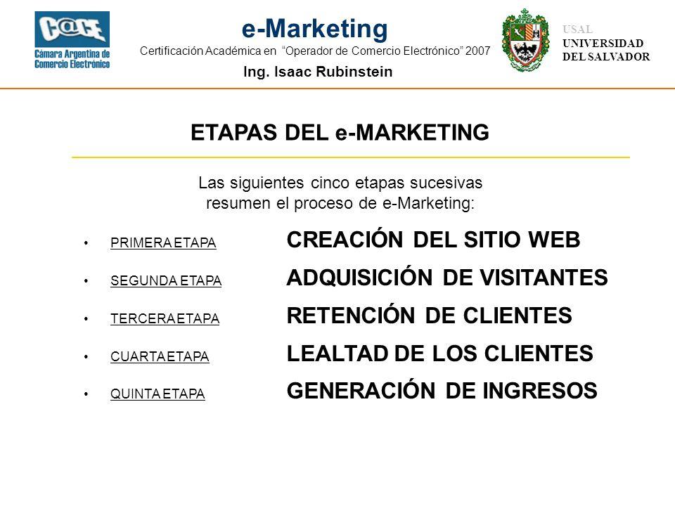 Ing. Isaac Rubinstein USAL UNIVERSIDAD DEL SALVADOR e-Marketing Certificación Académica en Operador de Comercio Electrónico 2007 ETAPAS DEL e-MARKETIN