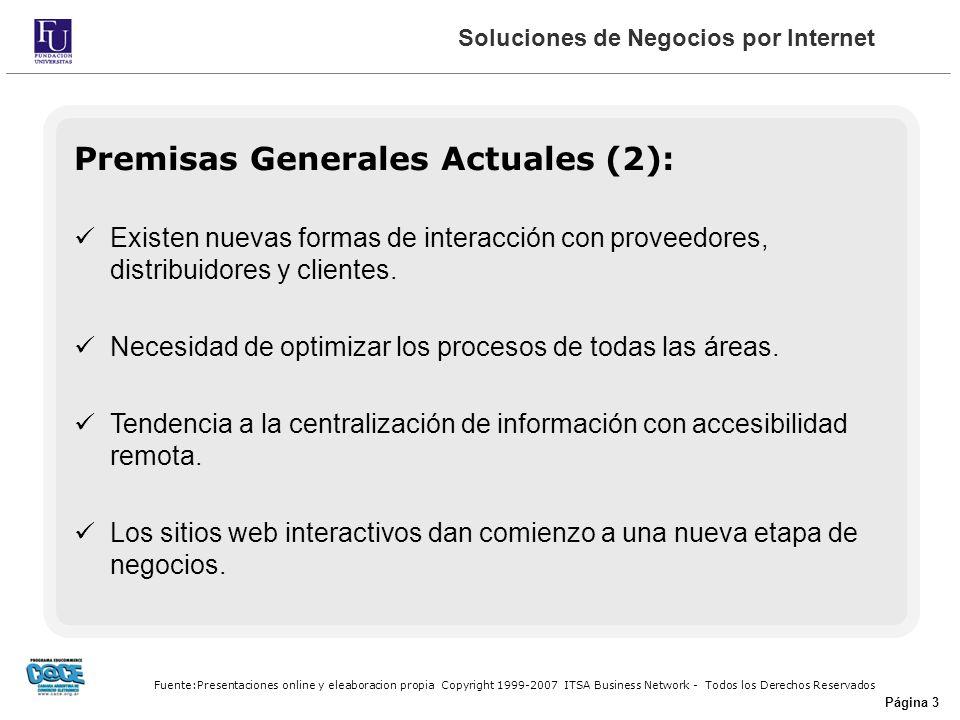 Fuente:Presentaciones online y eleaboracion propia Copyright 1999-2007 ITSA Business Network - Todos los Derechos Reservados Página 3 Premisas Generales Actuales (2): Existen nuevas formas de interacción con proveedores, distribuidores y clientes.