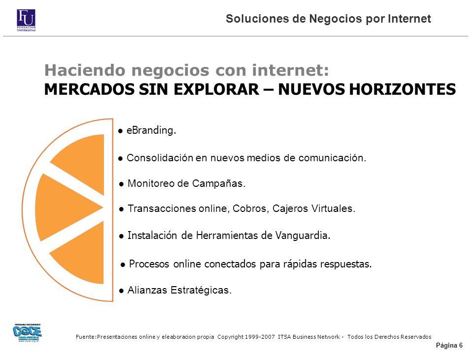 Fuente:Presentaciones online y eleaboracion propia Copyright 1999-2007 ITSA Business Network - Todos los Derechos Reservados Página 6 MERCADOS SIN EXPLORAR – NUEVOS HORIZONTES eBranding.