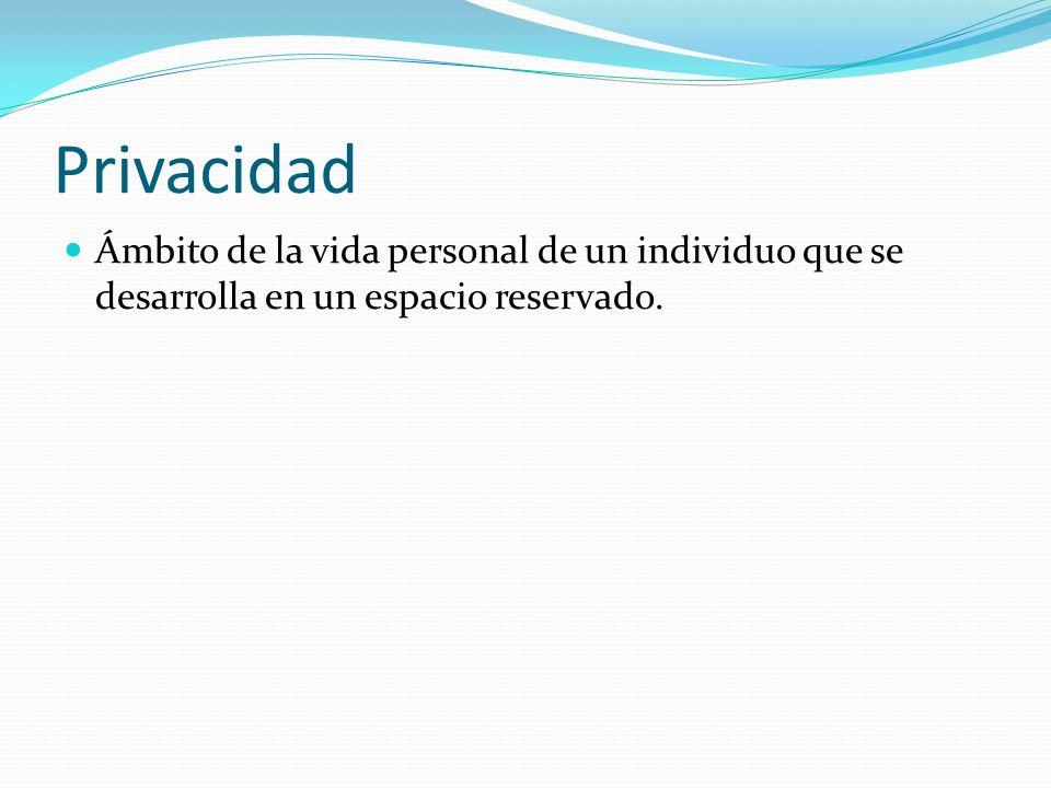 Privacidad Ámbito de la vida personal de un individuo que se desarrolla en un espacio reservado.