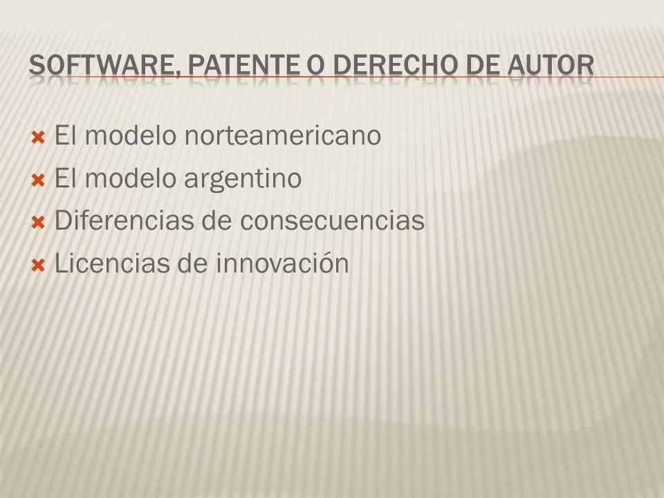 El modelo norteamericano El modelo argentino Diferencias de consecuencias Licencias de innovación