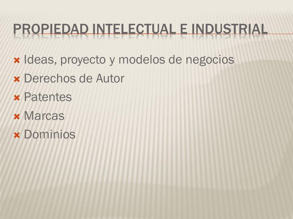 Ideas, proyecto y modelos de negocios Derechos de Autor Patentes Marcas Dominios