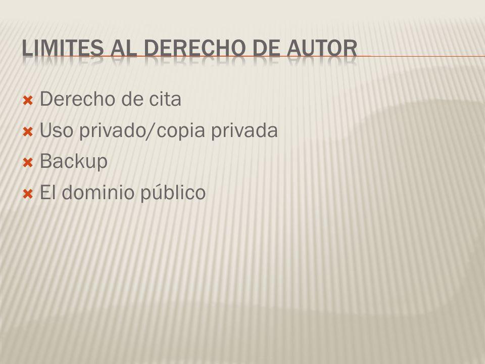 Derecho de cita Uso privado/copia privada Backup El dominio público