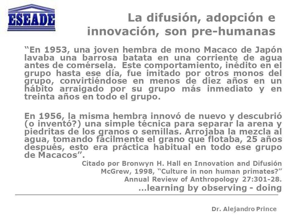 Dr. Alejandro Prince La difusión, adopción e innovación, son pre-humanas En 1953, una joven hembra de mono Macaco de Japón lavaba una barrosa batata e