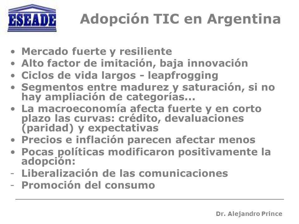 Adopción TIC en Argentina Mercado fuerte y resiliente Alto factor de imitación, baja innovación Ciclos de vida largos - leapfrogging Segmentos entre madurez y saturación, si no hay ampliación de categorías...