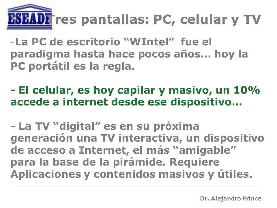 Dr. Alejandro Prince -La PC de escritorio WIntel fue el paradigma hasta hace pocos años… hoy la PC portátil es la regla. - El celular, es hoy capilar