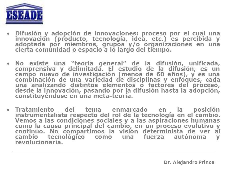 Dr. Alejandro Prince Difusión y adopción de innovaciones: proceso por el cual una innovación (producto, tecnología, idea, etc.) es percibida y adoptad