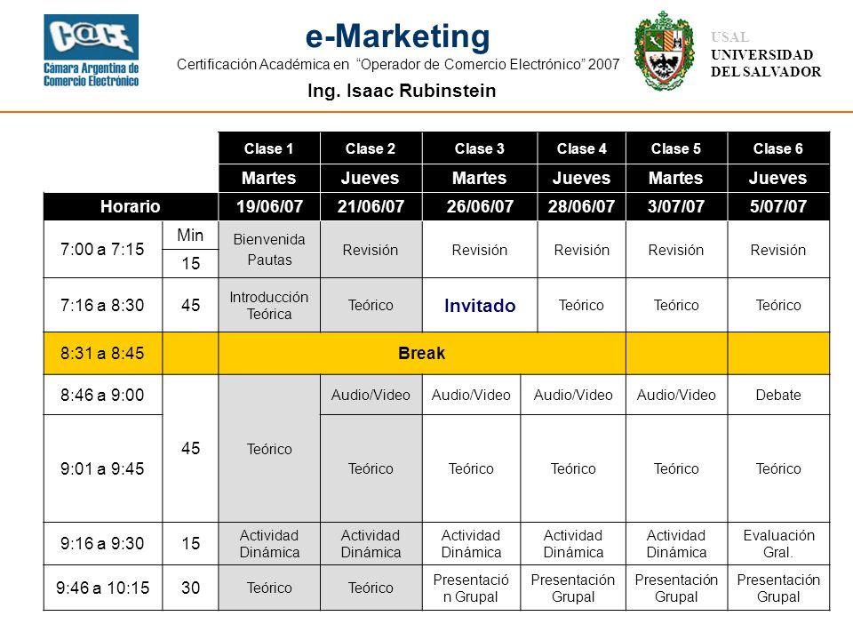 Ing. Isaac Rubinstein USAL UNIVERSIDAD DEL SALVADOR e-Marketing Certificación Académica en Operador de Comercio Electrónico 2007 Clase 1Clase 2Clase 3