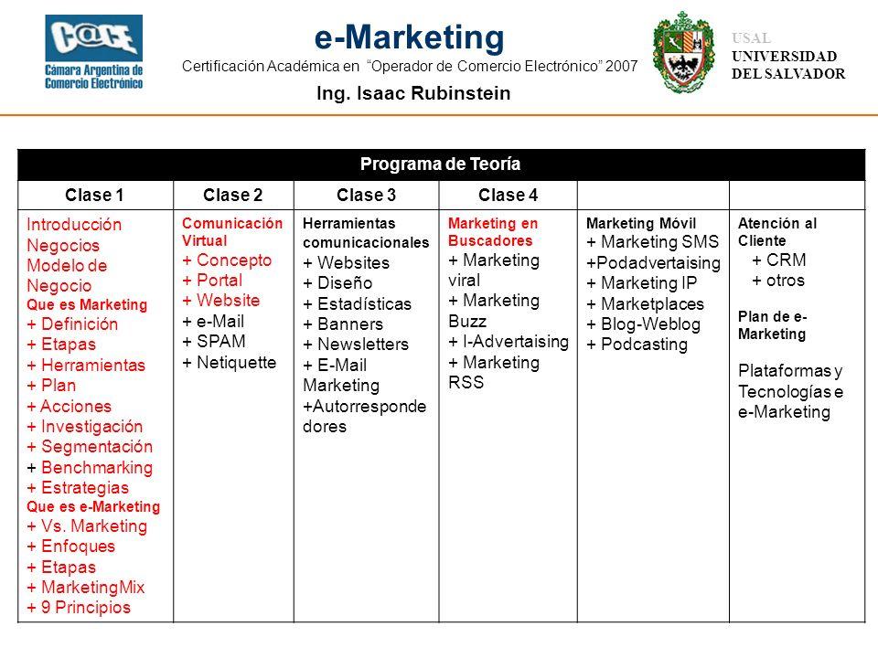 Ing. Isaac Rubinstein USAL UNIVERSIDAD DEL SALVADOR e-Marketing Certificación Académica en Operador de Comercio Electrónico 2007 Programa de Teoría Cl