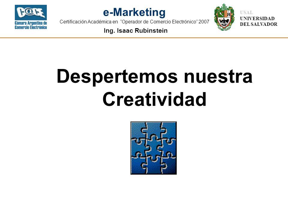 Ing. Isaac Rubinstein USAL UNIVERSIDAD DEL SALVADOR e-Marketing Certificación Académica en Operador de Comercio Electrónico 2007 Despertemos nuestra C