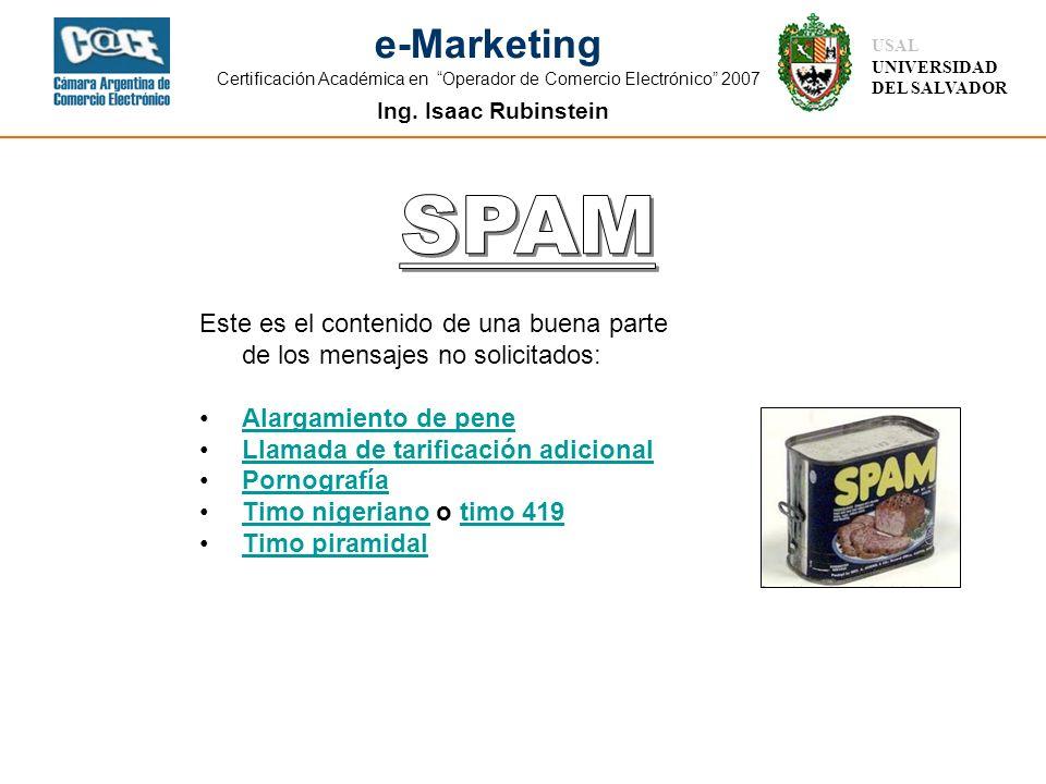 Ing. Isaac Rubinstein USAL UNIVERSIDAD DEL SALVADOR e-Marketing Certificación Académica en Operador de Comercio Electrónico 2007 Este es el contenido