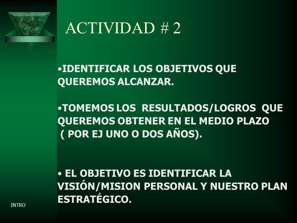 ACTIVIDAD # 2 IDENTIFICAR LOS OBJETIVOS QUE QUEREMOS ALCANZAR.
