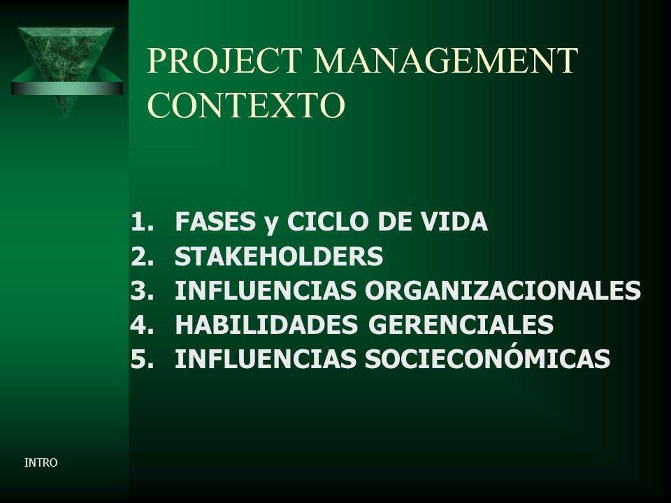 PROJECT MANAGEMENT CONTEXTO 1.FASES y CICLO DE VIDA 2.STAKEHOLDERS 3.INFLUENCIAS ORGANIZACIONALES 4.HABILIDADES GERENCIALES 5.INFLUENCIAS SOCIECONÓMICAS INTRO