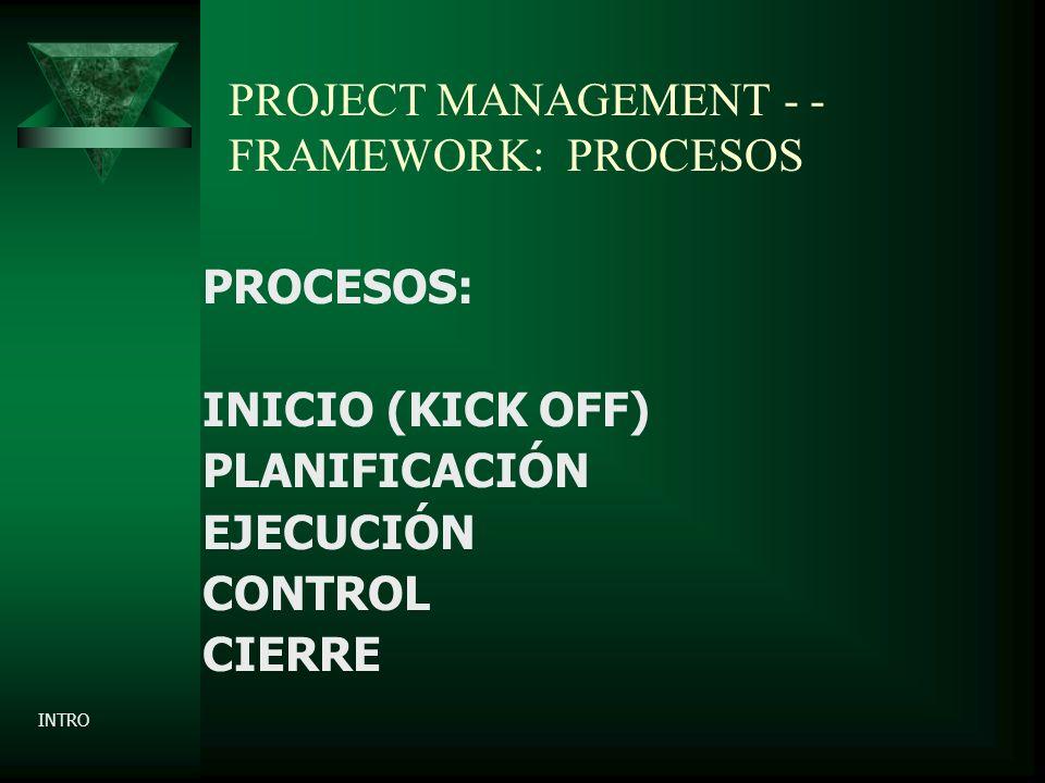 PROJECT MANAGEMENT - - FRAMEWORK: PROCESOS PROCESOS: INICIO (KICK OFF) PLANIFICACIÓN EJECUCIÓN CONTROL CIERRE INTRO