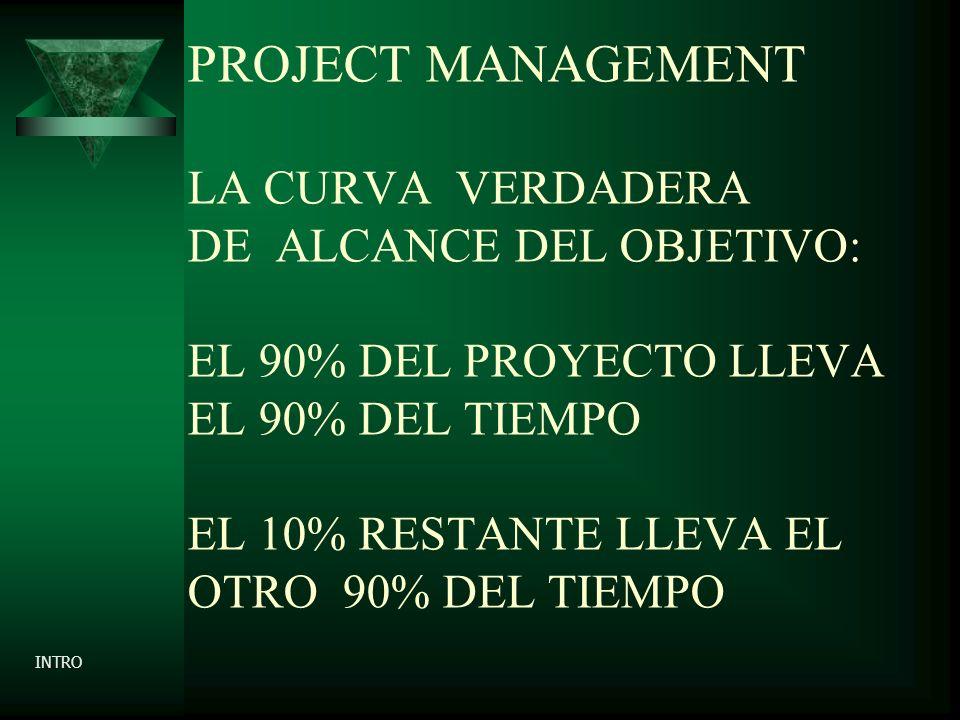 PROJECT MANAGEMENT LA CURVA VERDADERA DE ALCANCE DEL OBJETIVO: EL 90% DEL PROYECTO LLEVA EL 90% DEL TIEMPO EL 10% RESTANTE LLEVA EL OTRO 90% DEL TIEMPO INTRO