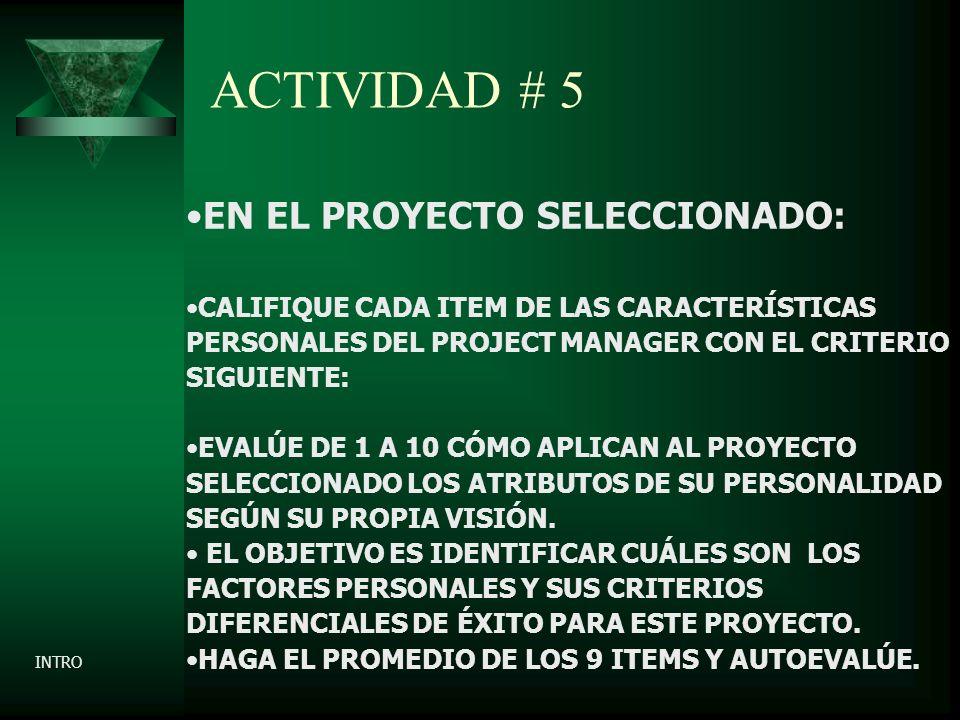 ACTIVIDAD # 5 EN EL PROYECTO SELECCIONADO: CALIFIQUE CADA ITEM DE LAS CARACTERÍSTICAS PERSONALES DEL PROJECT MANAGER CON EL CRITERIO SIGUIENTE: EVALÚE DE 1 A 10 CÓMO APLICAN AL PROYECTO SELECCIONADO LOS ATRIBUTOS DE SU PERSONALIDAD SEGÚN SU PROPIA VISIÓN.