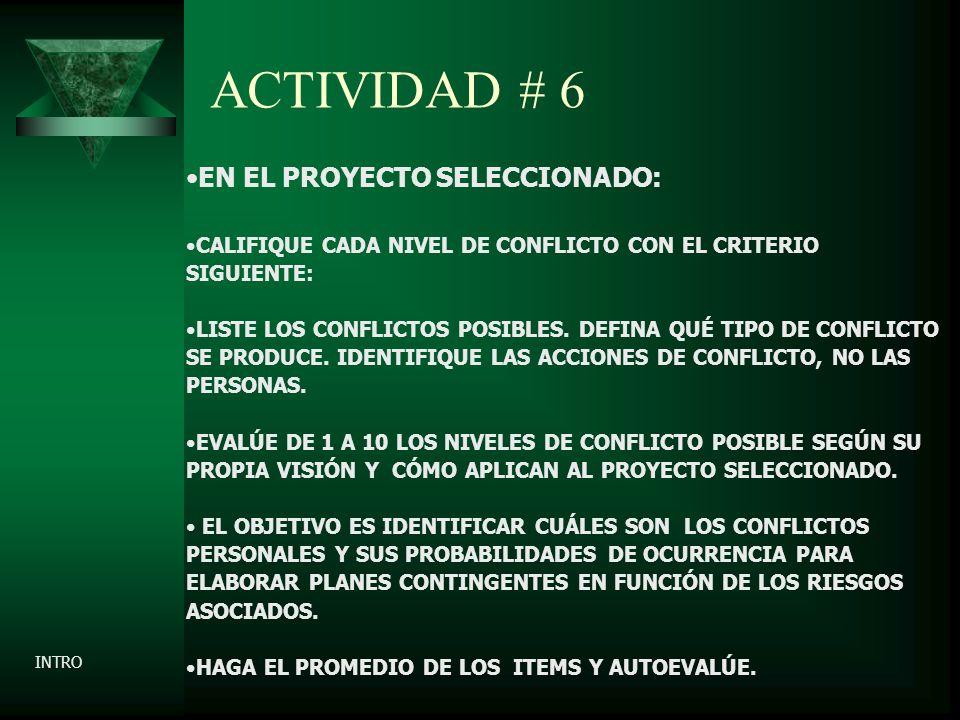 ACTIVIDAD # 6 EN EL PROYECTO SELECCIONADO: CALIFIQUE CADA NIVEL DE CONFLICTO CON EL CRITERIO SIGUIENTE: LISTE LOS CONFLICTOS POSIBLES.